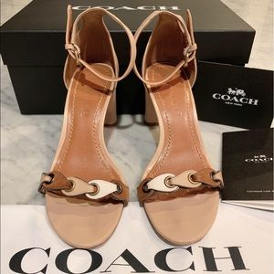 Coach ankle tie high heel sandals
